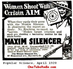 1920 Ad for the Maxim Silencer
