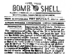 Bomb Shell Newspaper, 1854