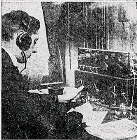 Radio Fan Getting the Time and Weather Observations Over the Wireless.  It Will Not Be Long Before the Radiophone Will be One of the Necessities of the Home.  Richmond Times-Dispatch, April 23, 1922, page 3.