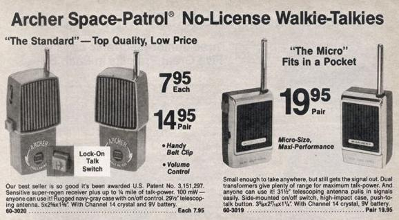 1978 Radio Shack Toy Walkie-Talkies (27 MHz).
