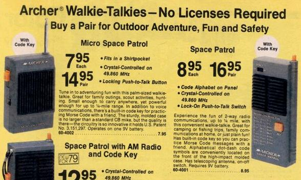 1979 Radio Shack Toy Walkie-Talkies (49 MHz).