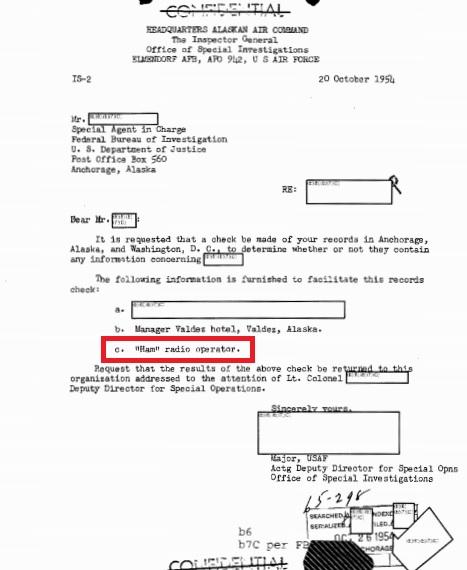 1954 letter seeking background on Valdez, Alaska, amateur radio operator.