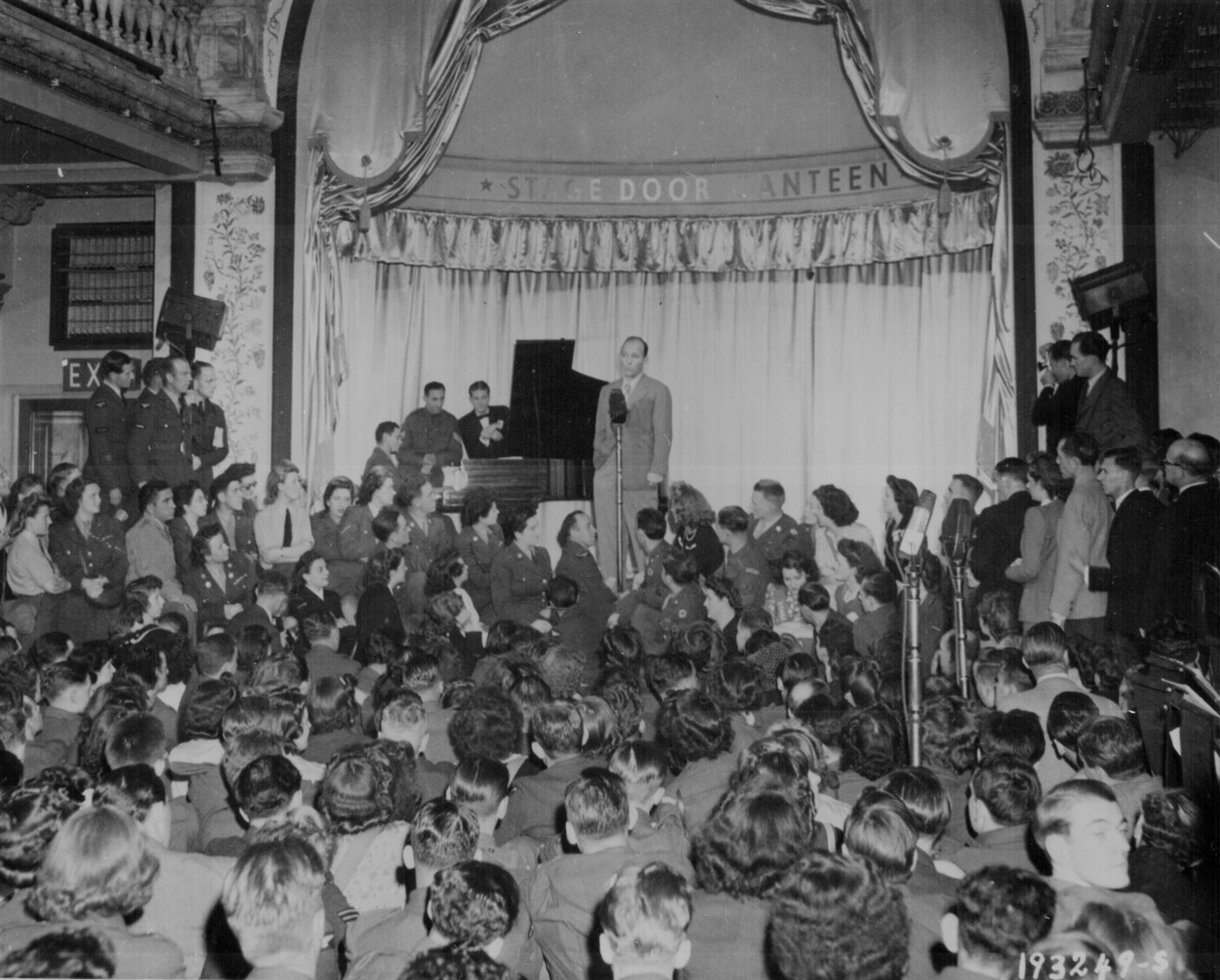 Bing Crosby entertains troops in London, 1944.  US Archives photo.