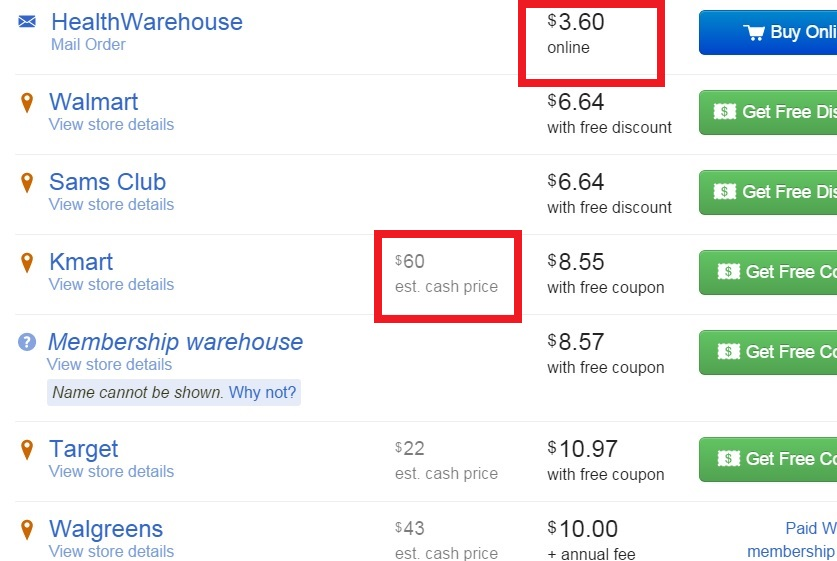 GoodRx.com Screenshot Showing Low and High Prices