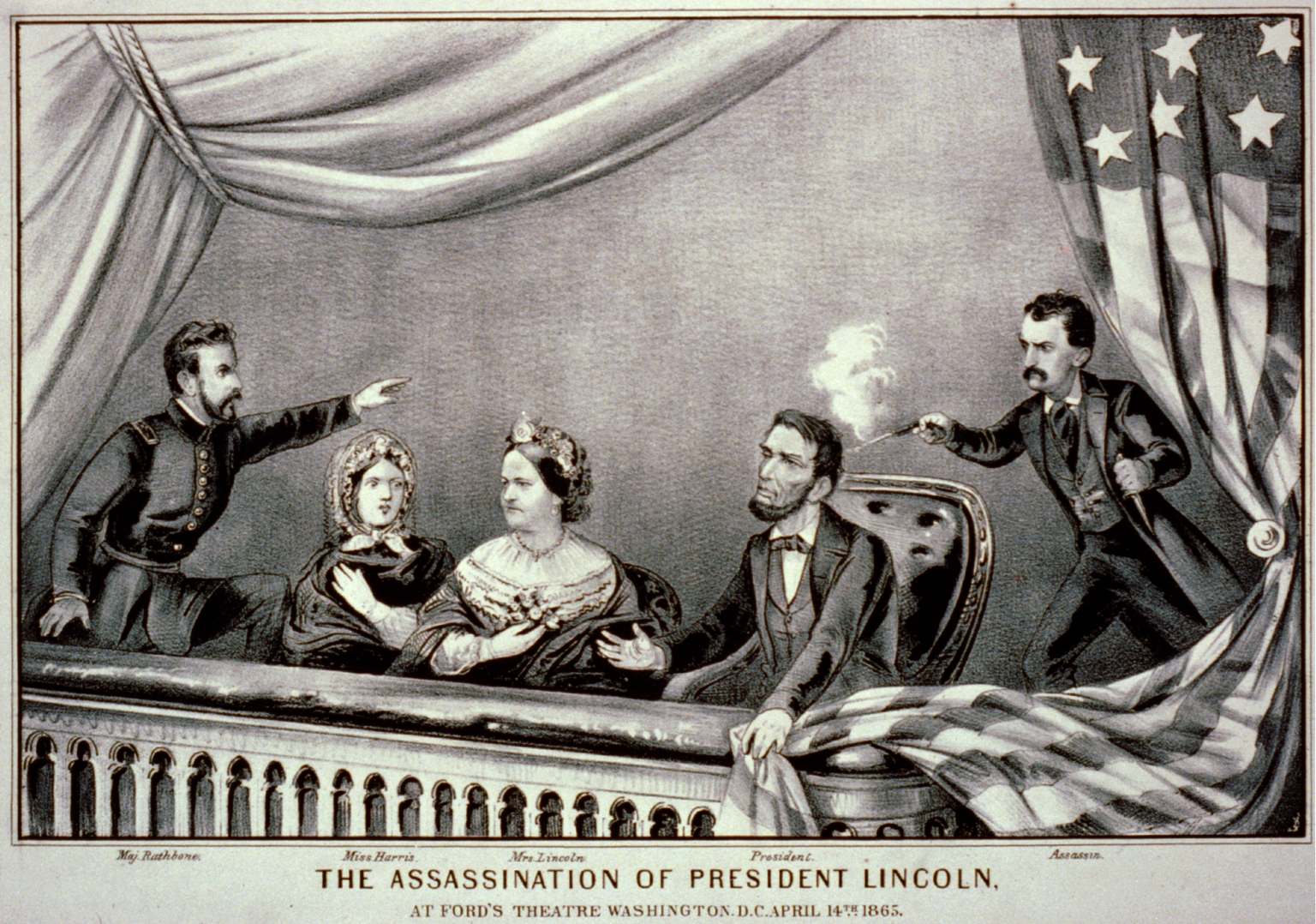 """The Assassination of President Lincoln - Currier and Ives 2"" by Currier & Ives, 1865. - This image is available from the United States Library of Congress's Prints and Photographs division under the digital ID cph.3b49830.This tag does not indicate the copyright status of the attached work. A normal copyright tag is still required. See Commons:Licensing for more information.العربية 