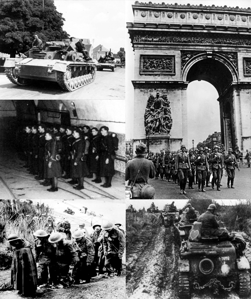 "Wikipedia photos, ""Battle of France collage"" by User:DIREKTOR - Top left: File:Bundesarchiv Bild 101I-055-1599-31, Frankreichfeldzug, Panzer IV.jpgTop right: File:Bundesarchiv Bild 101I-126-0347-09A, Paris, Deutsche Truppen am Arc de Triomphe.jpgMiddle left: File:French soldiers on Maginot Line.jpgBottom left: File:British prisoners at Dunkerque, France.jpgBottom right: File:Renault 35 montant en ligne sedan.jpg. Licensed under CC BY-SA 3.0 via Wikimedia Commons - http://commons.wikimedia.org/wiki/File:Battle_of_France_collage.jpg#/media/File:Battle_of_France_collage.jpg"