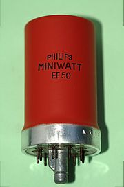 EF50 tube, Wikipedia photo. https://commons.wikimedia.org/wiki/File:EF50.jpg By RJB1 (Own work) [GFDL (http://www.gnu.org/copyleft/fdl.html) or CC BY-SA 4.0-3.0-2.5-2.0-1.0 (http://creativecommons.org/licenses/by-sa/4.0-3.0-2.5-2.0-1.0)], via Wikimedia Commons