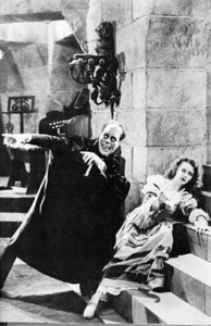 Mary Philbin and Lon Chaney in The Phantom of the Opera.  Wikipedia photo.