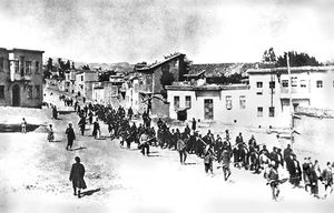 Armenians being marched to their death by Ottoman soldiers, 1915. Wikipedia photo.