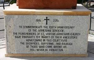 Memorial at St. Vartan Armenian Church, Oakland, Cal. Photo courtesty of St. Vartan Armenian Church http://stvartanoakland.org/PhotoAlbum/Genocide%20Project%202014/index.html