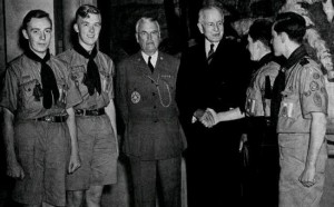 Visiting British scouts with James E. West and BSA foreign relations chairman Thomas J. Watson.