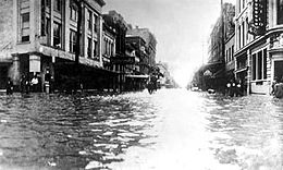 Flooding in Galveston after 1915 hurricane.  Wikipedia photo.