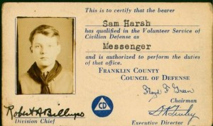 Franklin County, Ohio, identification card for Boy Scout CD messenger.  worthingtonmemory.org photo.