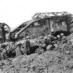 British tank in action, Sept. 1916. Wikipedia photo.
