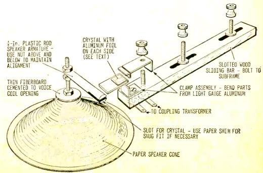 Construction details of 1968 piezoelectric speaker.
