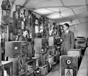 Evening Post photo of confiscated radios in Guernsey, via TheIslandWiki.org.