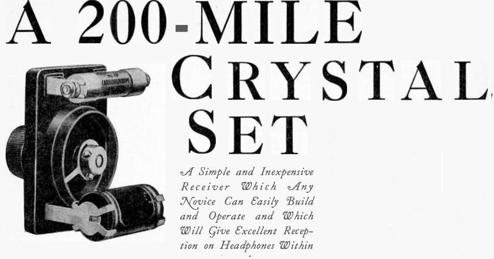 1926 Carborundum Crystal Set | OneTubeRadio com