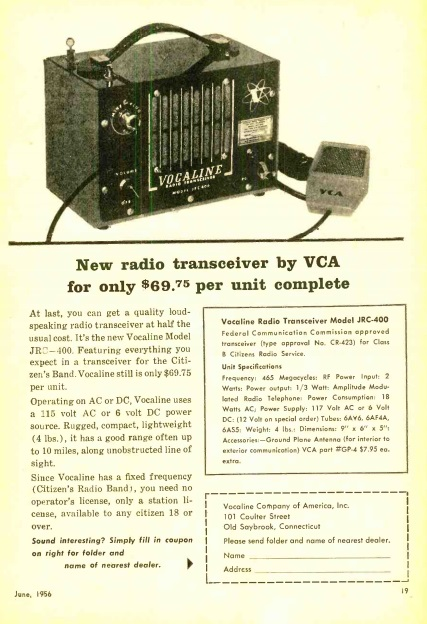 1956 Vocaline Model JRC-400 CB Transceiver | OneTubeRadio com