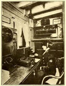 Graynella Packer operating the wireless aboard the