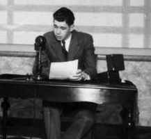 Then 16 year old Hodgkinson at the CKY microphone, circa 1930. Manitoba Historical Society photo.