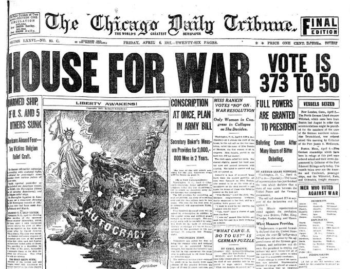 Chicago Tribune, April 6, 1917.