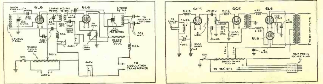 Schematics of RF section (left) and modulator (right).