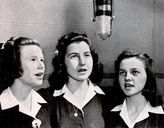 "Thomson, GA, high school girls Barbara Burch, Lucy Lockett, and Winona Colton, WGAC's star trio.  ""They sing in close harmony just like the big-time girl trios."""