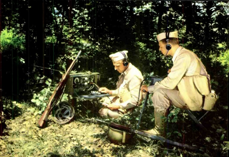Operating radio from concealed position with hand-driven generator.