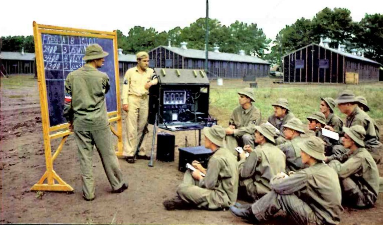 Students receiving instruction on portable transmitter.  Note operating frequencies of ___ kHz.